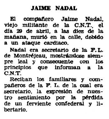 """Necrològica de Jaume Nadal apareguda en el periòdic tolosà """"Espoir"""" del 26 de maig de 1968"""