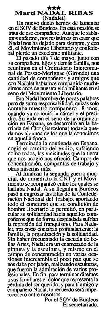 """Necrològica de Martí Nadal Ribas apareguda en el periòdic tolosà """"Cenit"""" del 8 de juny de 1993"""
