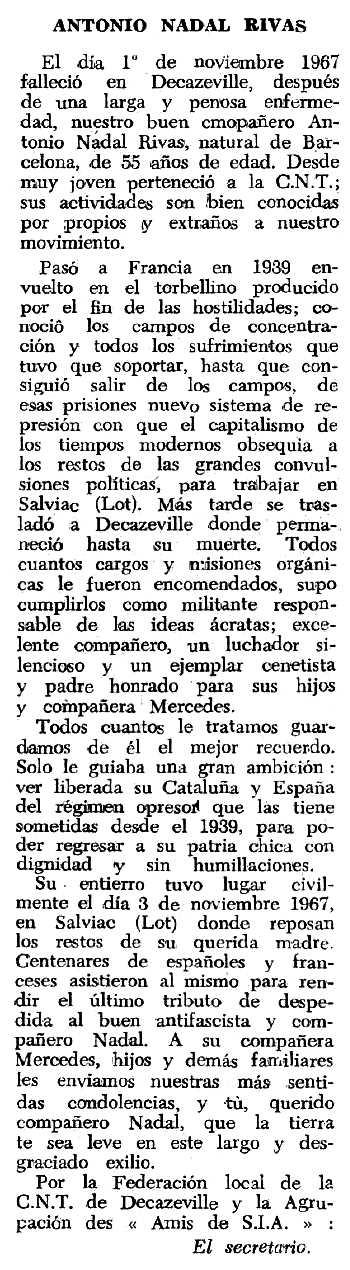 """Necrològica d'Antoni Nadal Ribas apareguda en el periòdic tolosà """"Espoir"""" del 26 de novembre de 1967"""