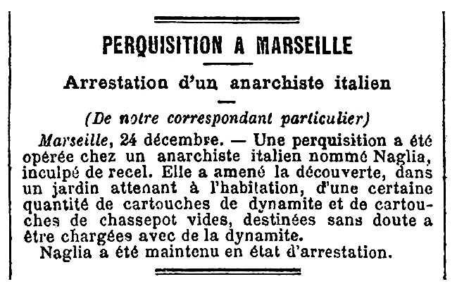 """Notícia de la detenció de Gaetano Naglia apareguda en el diari parisenc """"La Presse"""" del 26 de desembre de 1889"""