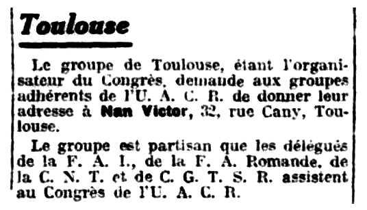 """Notícia orgànica de Victor Nan apareguda en el periòdic parisenc """"Le Libertaire"""" del 14 d'agost de 1931"""