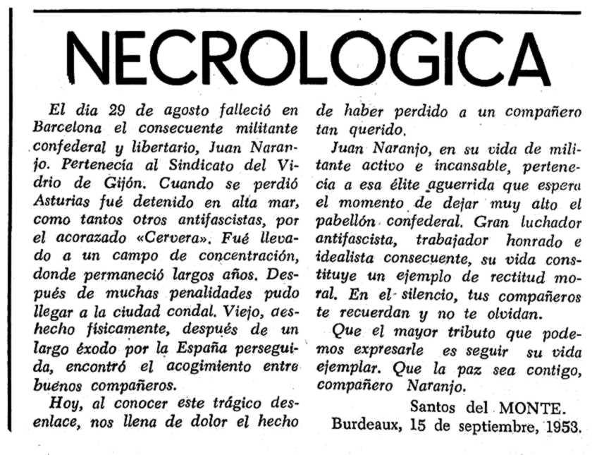 """Necrològica de Juan Naranjo apareguda en el periòdic tolosà """"España Libre"""" del 27 de setembre de 1953"""