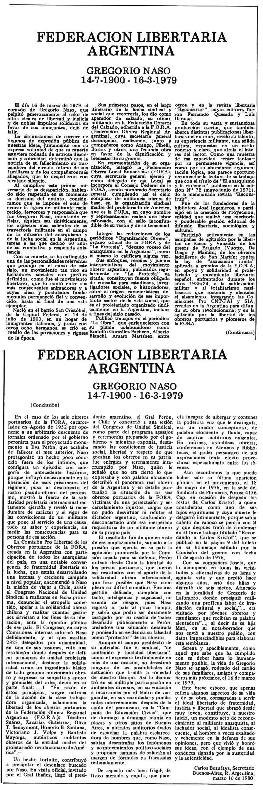 """Necrològica de Gregorio Naso publicada en el periòdic tolosà """"Espoir"""" del 5 i 19 de juliol de 1980"""