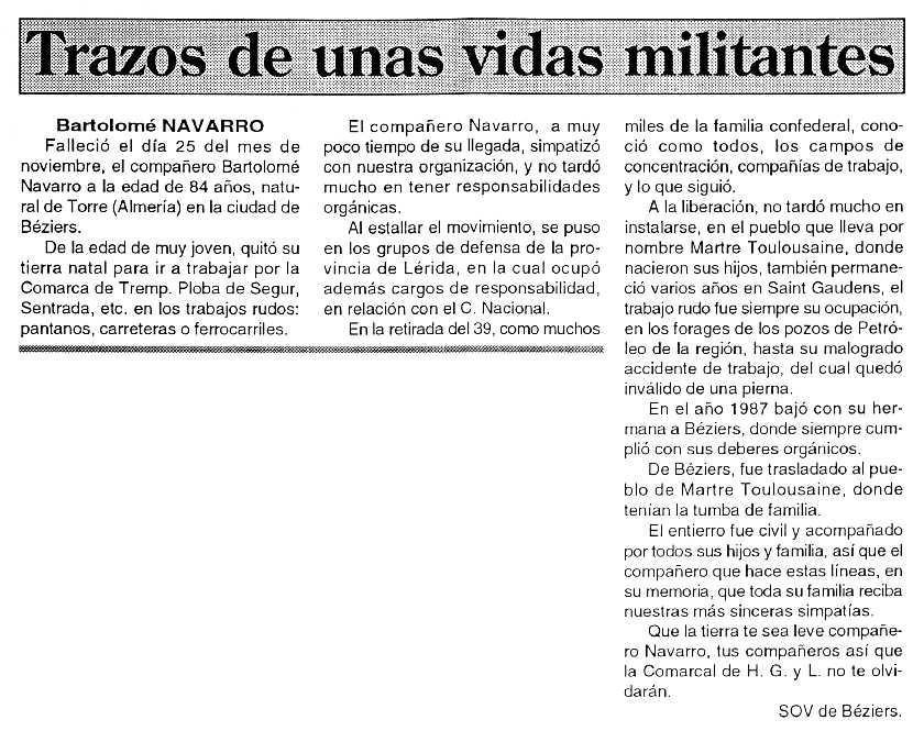 "Necrològica de Bartolomé Navarro Cervantes apareguda en el periòdic parisenc ""Cenit"" del 4 de gener de 1994"