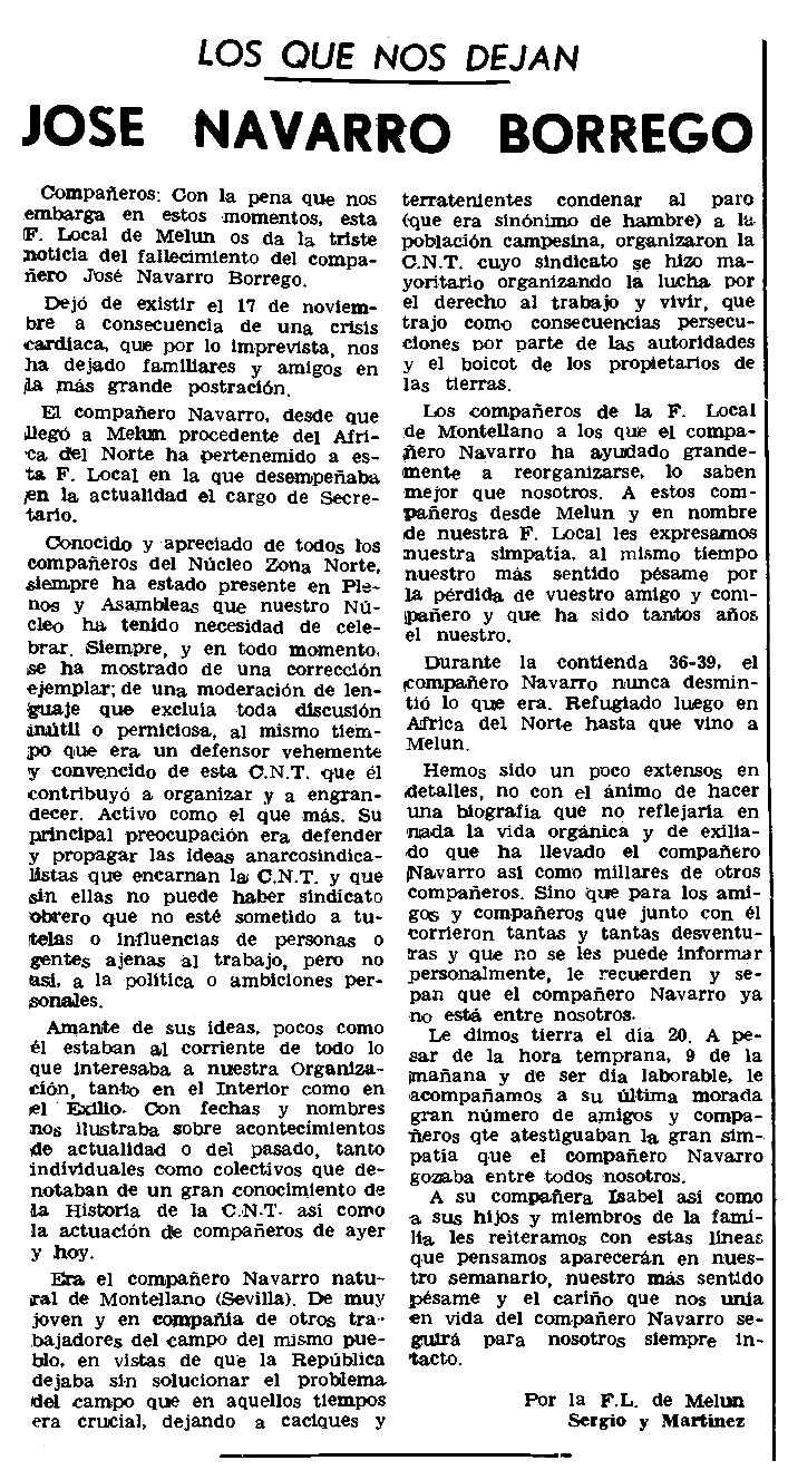 """Necrològica de José Navarro Borrego apareguda en el periòdic parisenc """"Le Combat Syndicaliste"""" del 20 de desembre de 1979"""