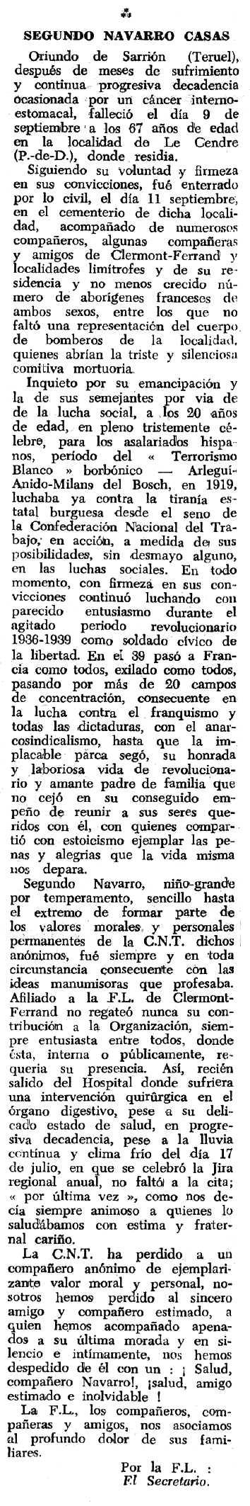 """Necrològica de Segundo Navarro Casas apareguda en el periòdic tolosà """"Espoir"""" del 18 de desembre de 1966"""
