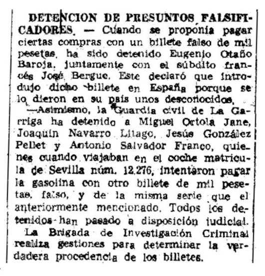 """Notícia de la detenció de Joaquín Navarro Litago apareguda en el diari barceloní """"La Vanguardia"""" del 24 d'abril de 1951"""