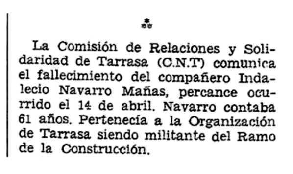 """Necrològica d'Indalecio Navarro Mañas aparegut en el periòdic tolosà """"CNT"""" del 3 de juny de 1956"""