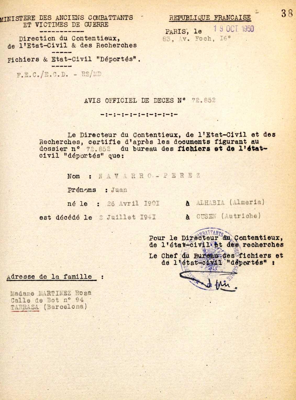 Acta de defunció de Juan Navarro Pérez