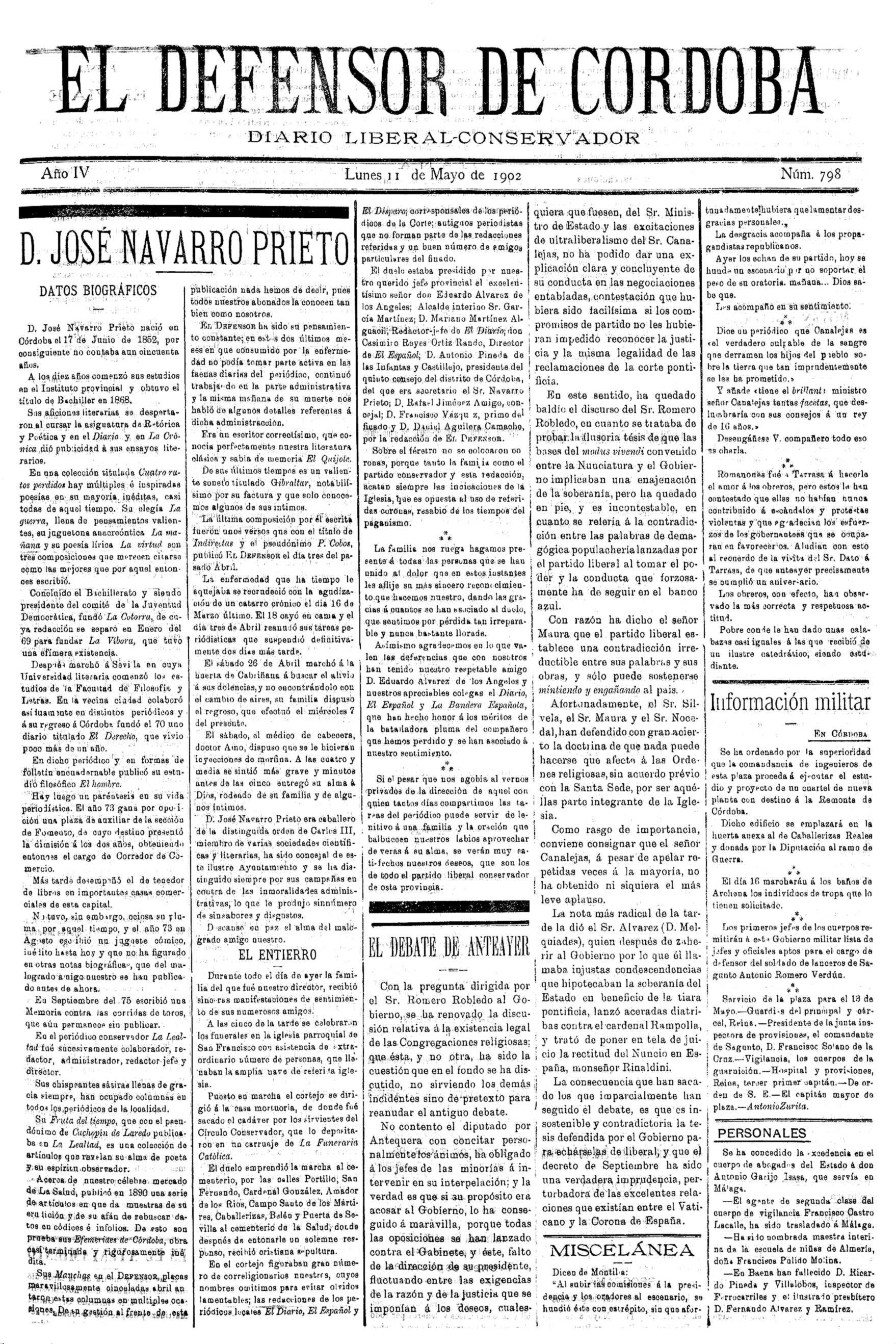 """Noticia biográfica de José Navarro Prieto en la que su faceta anarquista la define simplemente como """"paréntisis en apoyo vida periodística"""" ..."""