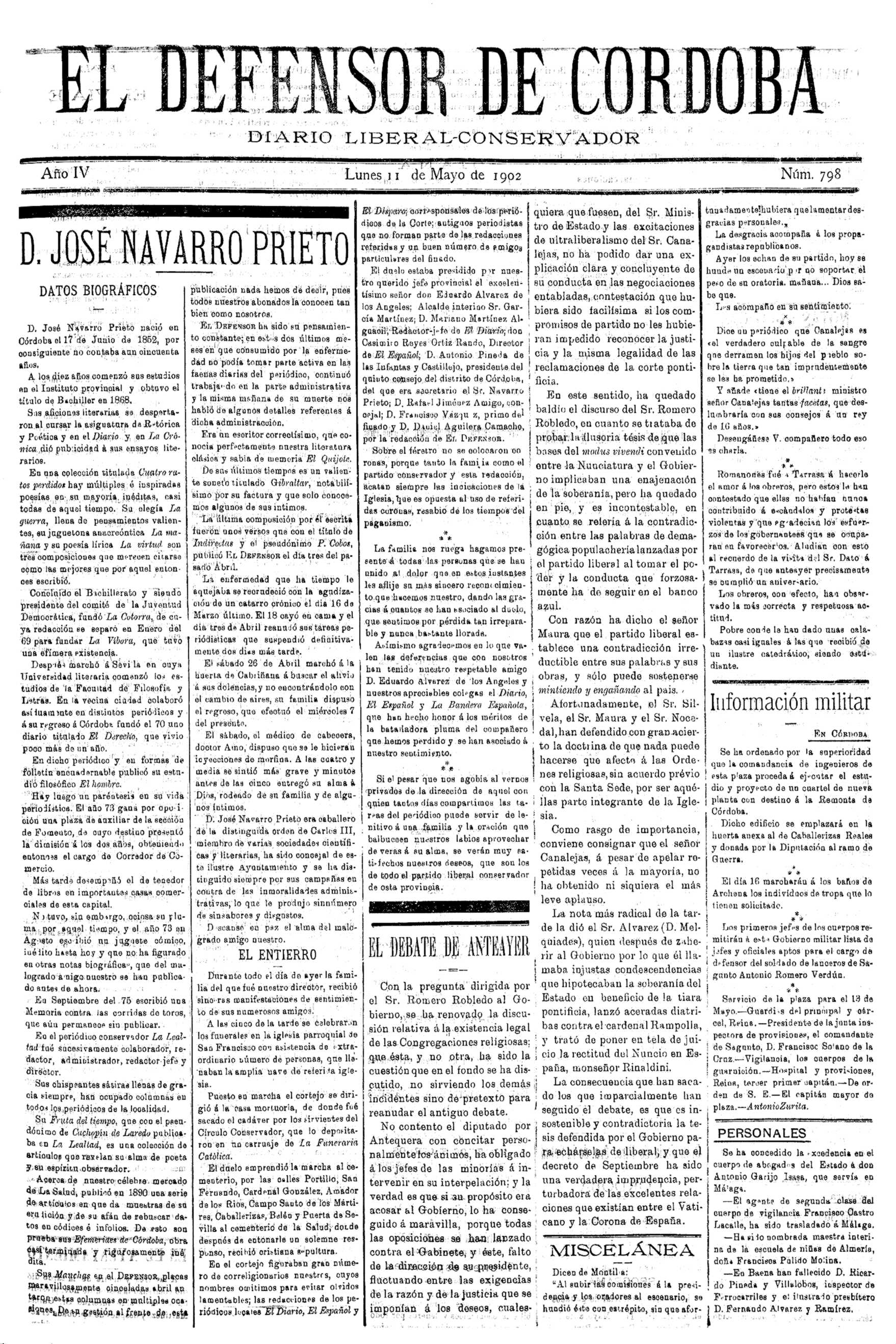 "Notícia biogràfica de José Navarro Prieto en la qual la seva faceta anarquista la defineix simplement com a ""paréntisis en su vida periodística""..."