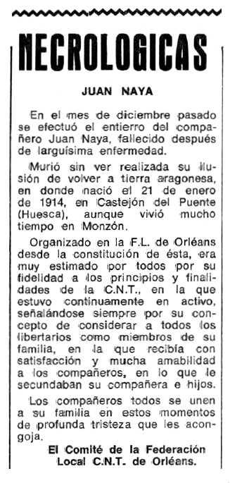 """Necrològica de Juan Ángel Naya Perallón apareguda en el periòdic tolosà """"Espoir"""" del 20 de març de 1978"""