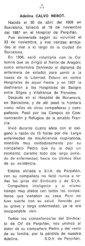 """Necrologia d'Adelina Nebot Tressols apareguda en el periòdic tolosà """"Cenit"""" de l'1 de març de 1988"""