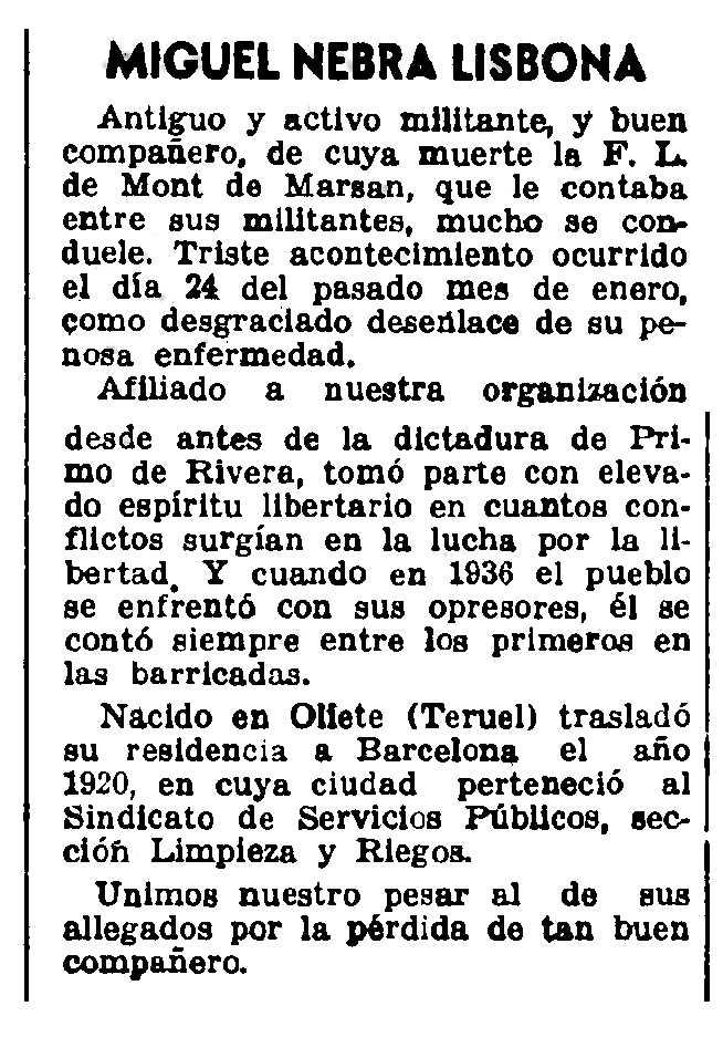"Necrològica de Miguel Nebra Lisbona apareguda en el periòdic parisenc ""CNT"" del 5 de març de 1950"