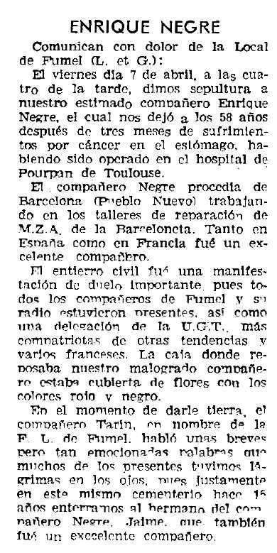 """Necrològica d'Enric Negre Árboles apareguda en el periòdic parisenc """"Solidaridad Obrera"""" de l'11 de maig de 1961"""