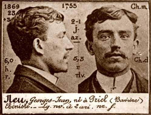 Foto policíaca de Georg Joan Neu (ca. 1894)