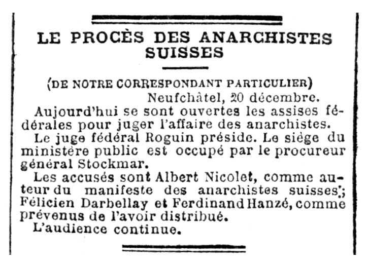 """Notícia del judici contra Albert Nicolet publicada en el periòdic parisenc """"Le XIXe Siègle"""" del 22 de desembre de 1889"""