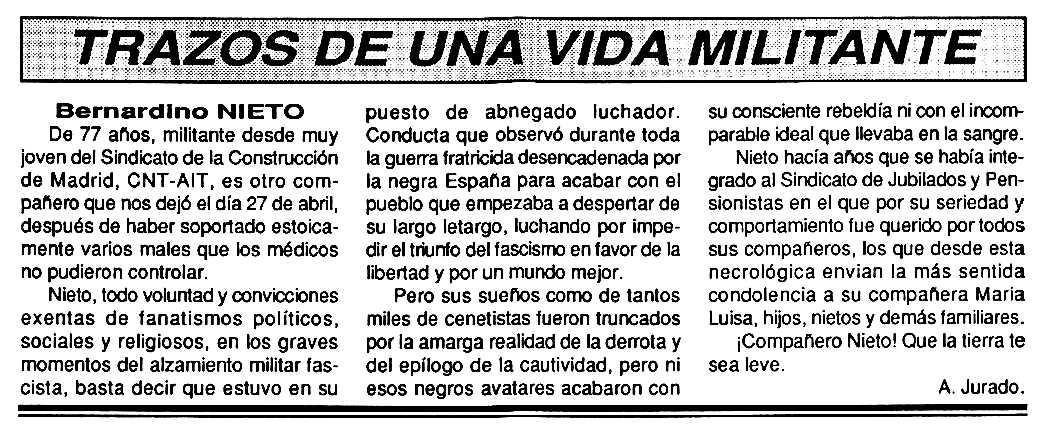 """Necrològica de Bernardino Nieto apareguda en el periòdic tolosà """"Cenit"""" del 9 de juny de 1992"""