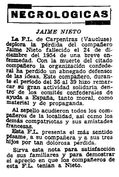 """Necrològica de Jaime Nieto Izquierdo apareguda en el periòdic parisenc """"Solidaridad Obrera"""" del 20 de gener de 1955"""