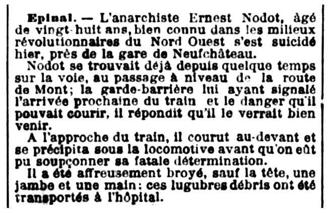 """Notícia del suïcidi d'Ernest Nodot publicada en el diari parisenc """"L'Événement"""" del 19 de març de 1897"""