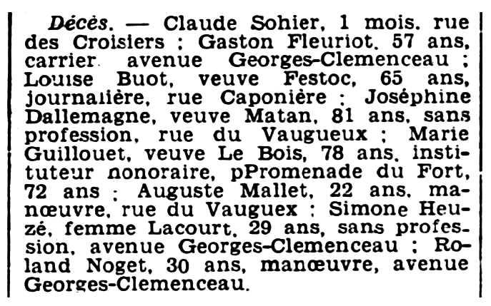 """Nota de la mort de Roland Noget apareguda en el diari de Caen """"L'Ouest-Éclair"""" del 2 d'agost de 1935"""