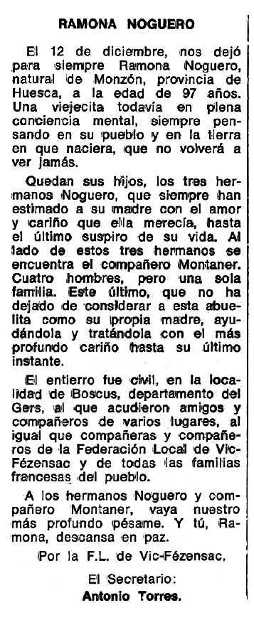 """Necrològica de Ramona Noguero apareguda en el periòdic tolosà """"Espoir"""" del 27 de febrer de 1977"""