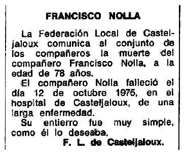 """Necrològica de Francesc Nolla Teigell apareguda en el periòdic tolosà """"Espoir"""" del 25 de gener de 1976"""