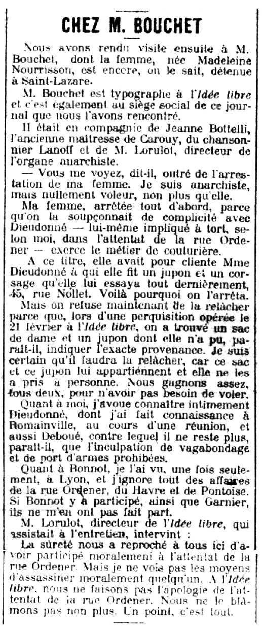 """Notícia de la detenció de Madeleine Nourrisson apareguda en el diari parisenc """"La Matin"""" del 29 de febrer de 1912"""