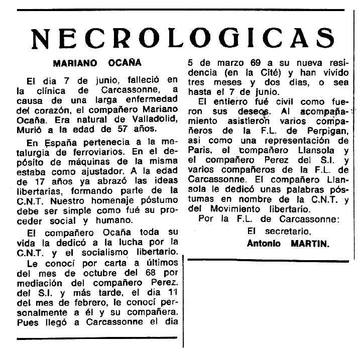 """Necrològica de Mariano Ocaña apareguda en el periòdic tolosà """"Espoir"""" del 3 d'agost de 1969"""