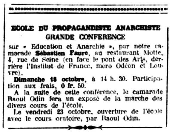 """Notícia de les classes de Raoul Odin a l'Escola del Propagandista Anarquista apareguda en el periòdic parisenc """"Le Libertaire"""" del 9 d'octubre de 1925"""
