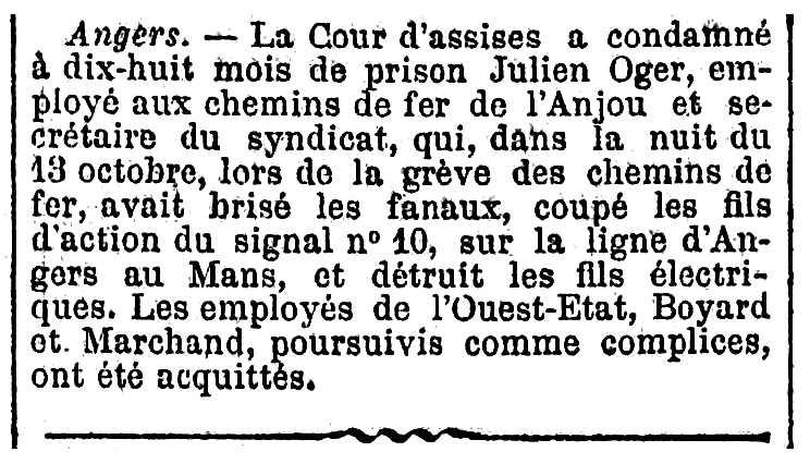"""Notícia de la condemna de Julien Oger apareguda en el diari parisenc """"Figaro"""" del 17 de maig de 1911"""