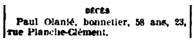 "Nota sobre la mort de Paul Olanié publicada en el diari de Troyes ""La Tribune de l'Aube"" del 8 de julio de 1932"