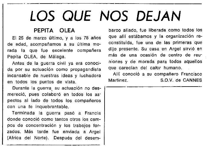 """Necrològica de Josefa Olea Olea apareguda en el periòdic tolosà """"Cenit"""" del 20 de maig de 1986"""
