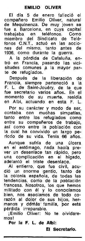 """Necrològica d'Emili Oliver Caballé apareguda en el periòdic tolosà """"Espoir"""" del 16 de juny de 1974"""