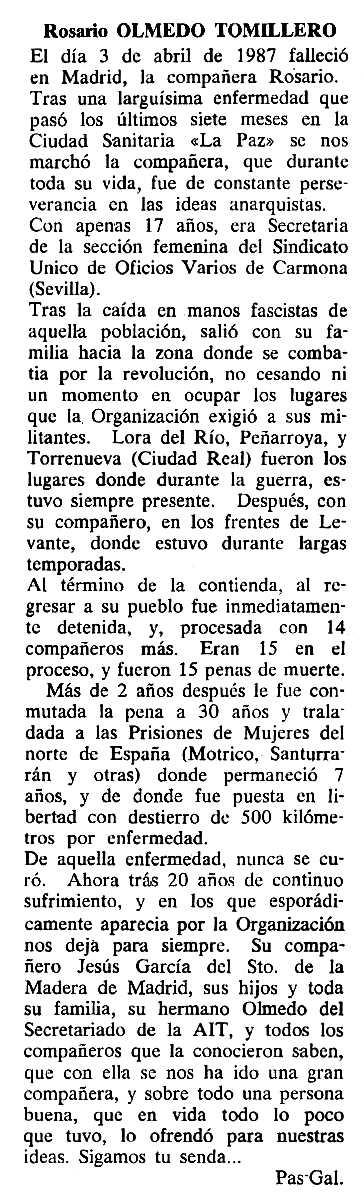 """Necrològica de Rosario Olmedo Tomillero apareguda en el periòdic tolosà """"Cenit"""" del 2 de juny de 1987"""