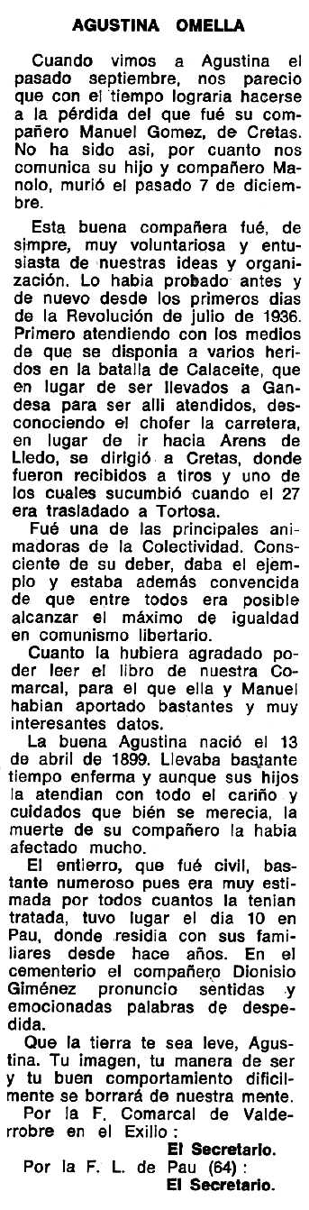 """Necrològica d'Agustina Omella apareguda en el periòdic tolosà """"Espoir"""" del 14 de maig de 1972"""