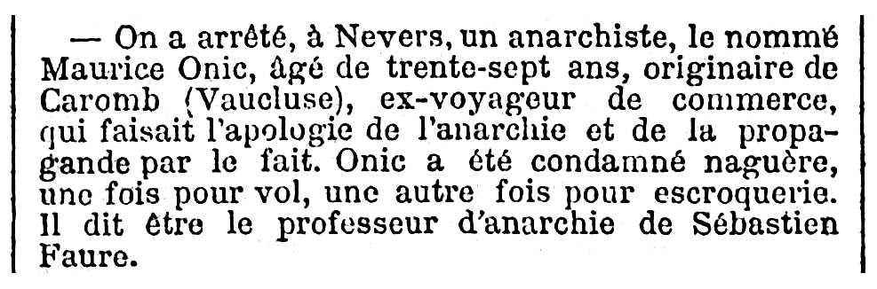 """Notícia de la detenció de Maurice Onic apareguda en el diari parisenc """"Le Temps"""" de l'1 de juliol de 1894"""