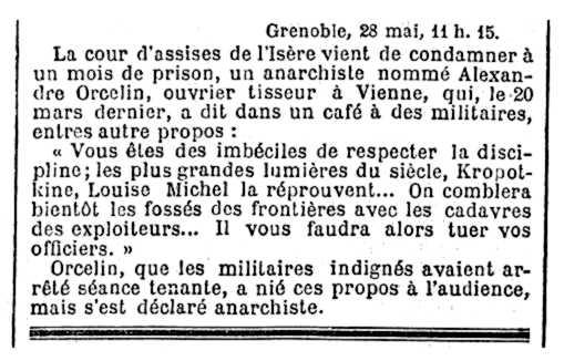 """Noticia de la detención de Alejandro Orcel aparecida en el diario parisino """"Le Temps"""" del 29 de mayo de 1887"""