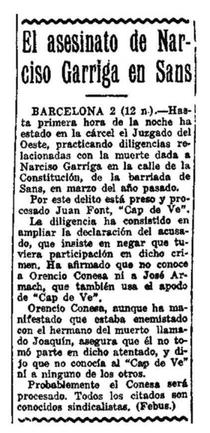 """Notícia del processament d'Orencio Conesa apareguda en el periòdic madrileny """"La Voz"""" (3 de juliol de 1924)"""
