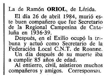 """Necrològica de Ramon Oriol apareguda en el periòdic tolosà """"Cenit"""" del 26 de juny de 1984"""