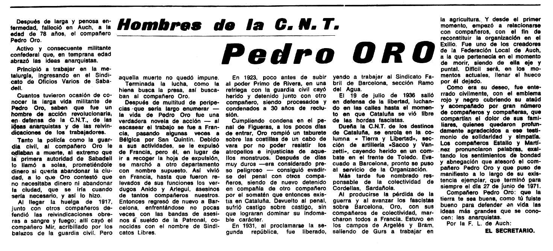 "Necrològica de Pere Oró Ricart apareguda en el periòdic tolosà ""Espoir"" del 2 de gener de 1972"