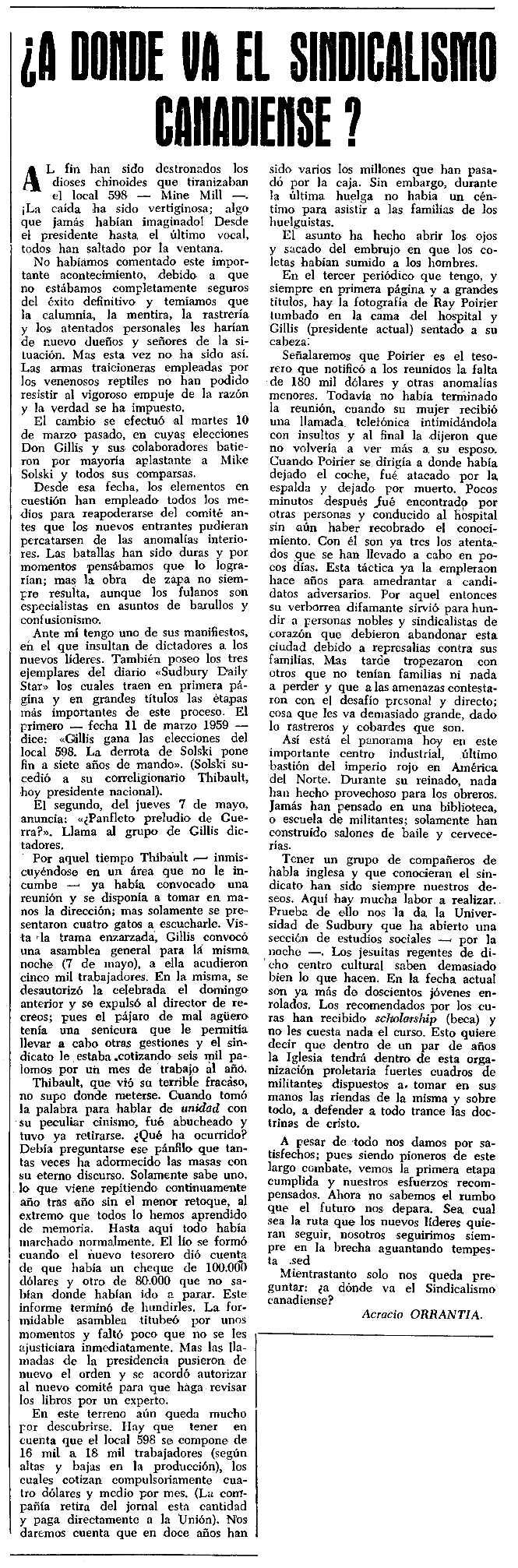 """Article d'Acracio Orrantia publicat en el periòdic tolosà """"CNT"""" del 14 de juny de 1959"""