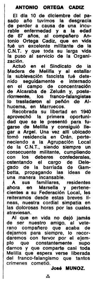 """Necrològica d'Antonio Ortega Cádiz apareguda en el periòdic tolosà """"Espoir"""" del 17 de març de 1968"""