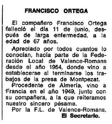"Necrològica de Francisco Ortega apareguda en el periòdic tolosà ""Espoir"" del 24 d'abril de 1977"