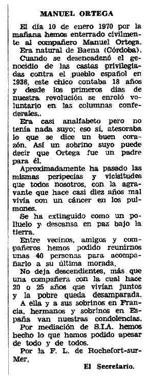 """Necrològica de Manuel Ortega apareguda en el periòdic tolosà """"Espoir"""" del 29 de març de 1970"""