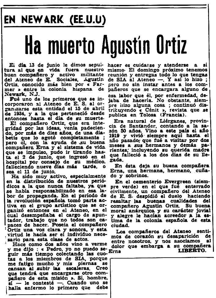 "Necrològica d'Agustín Ortiz apareguda en el periòdic parisenc ""Solidaridad Obrera"" del 18 de juliol de 1957"