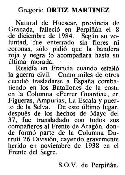"""Necrològica de Gregorio Ortiz Martínez apareguda en el periòdic tolosà """"Cenit"""" del 15 de gener de 1985"""