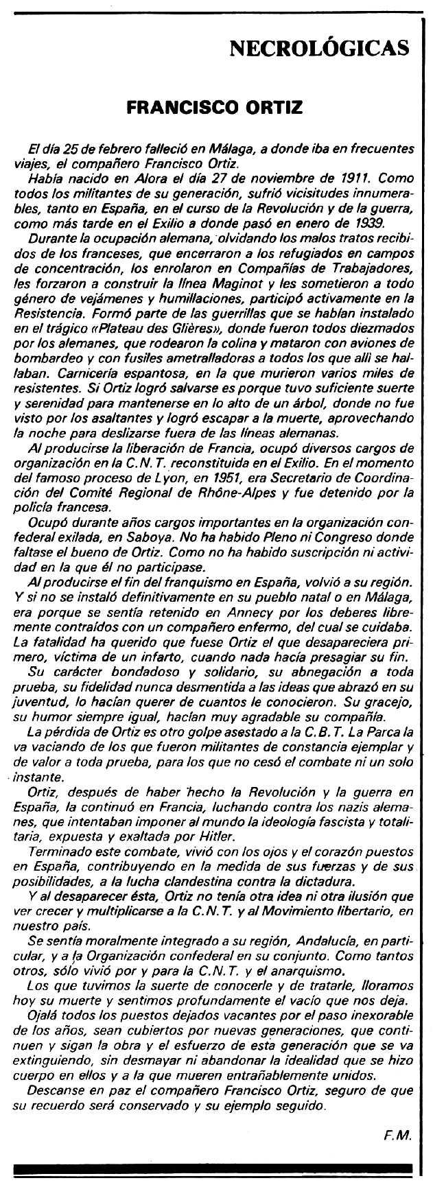 """Necrològica de Francisco Ortiz Pérez apareguda en el periòdic tolosà """"Espoir"""" del 22 de març de 1981"""