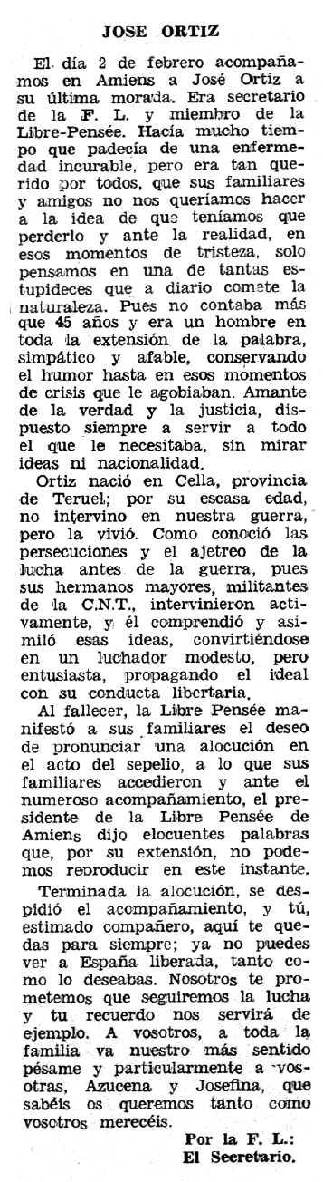 """Necrològica de José Ortiz Villa apareguda en el periòdic """"Espoir"""" del 26 de maig de 1968"""