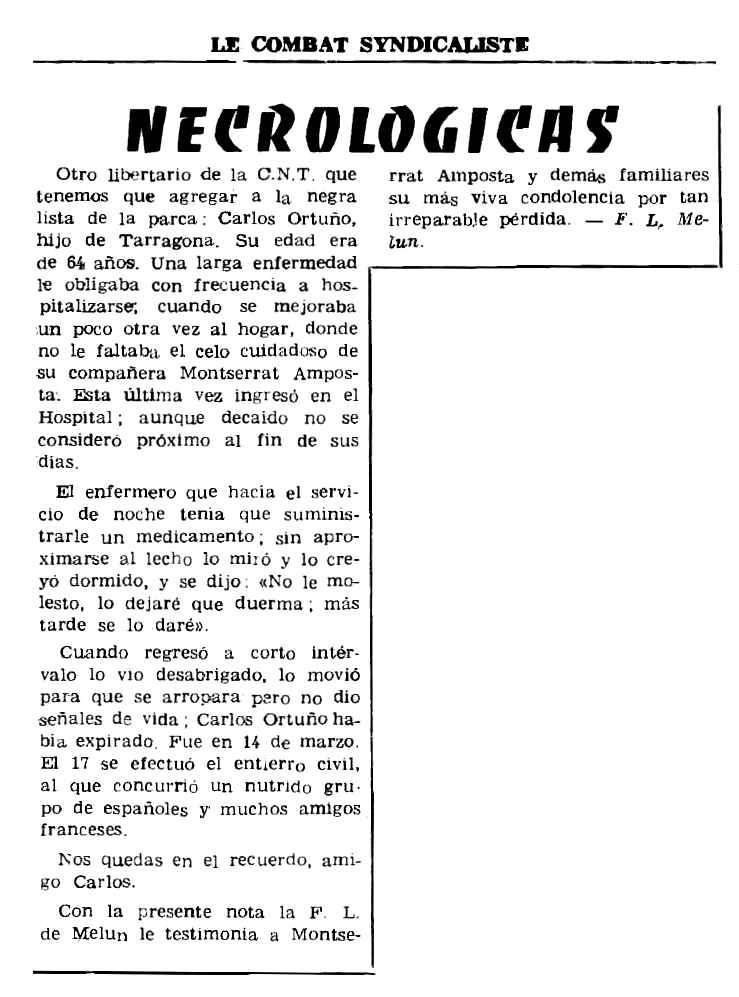 """Necrològica de Carlos Ortuño Cuenca apareguda en el periòdic parisenc """"Le Combat Syndicaliste"""" del 5 d'abril de 1973"""